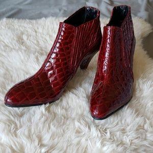 J. Renee caden alligator burgundy ankle boots